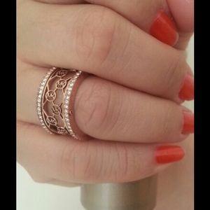 NWT Michael Kors Monogram CutOut Ring Rose Gold 7